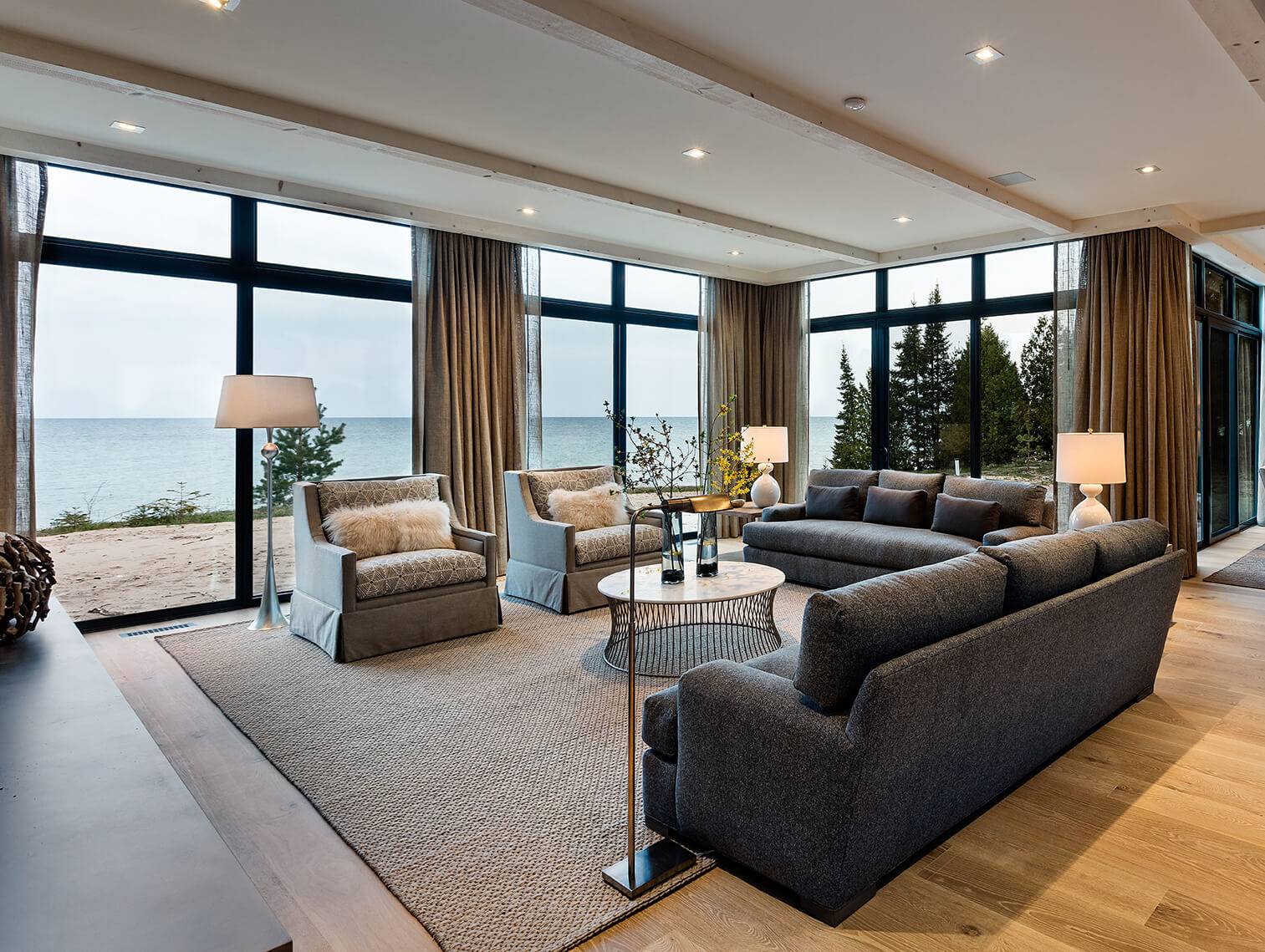 Living room view of Lake Michigan