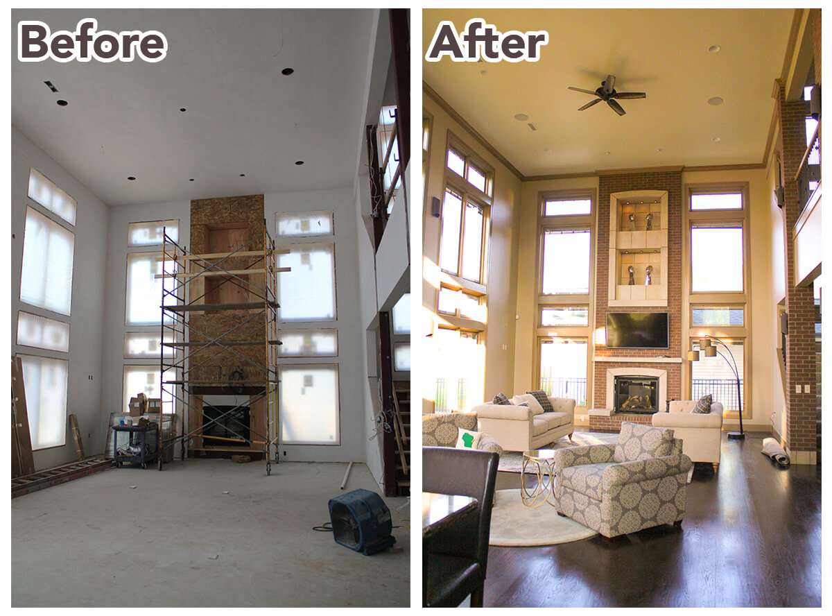A before and after photo that showcases the rhythm detailing on the interior of the home.