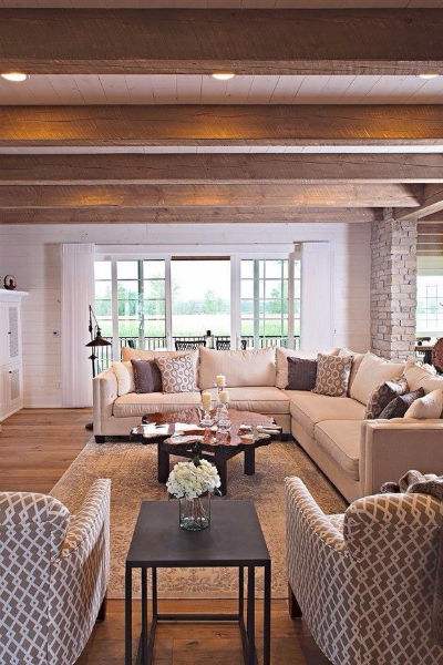 Rustic & Modern in Suamico -  Wisconsin Log Homes - Living Room Windows