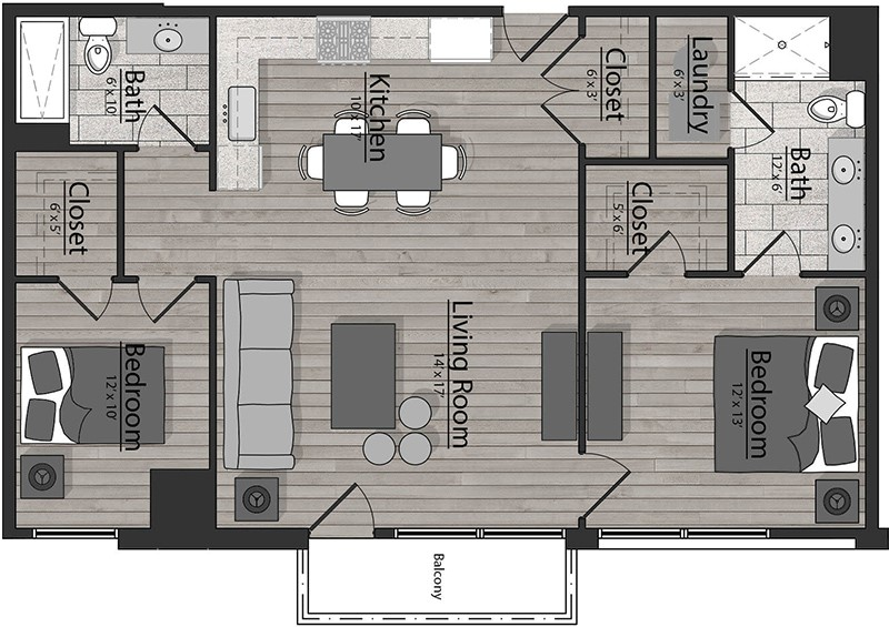 Sample layout of a two-bedroom floorplan
