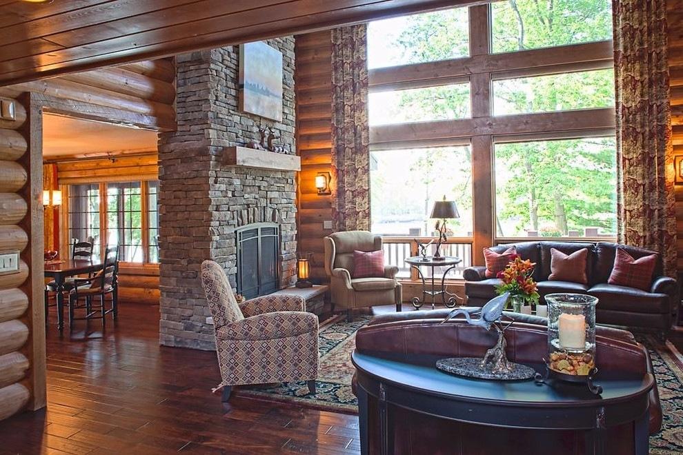 log home living room wisconsin dells log home