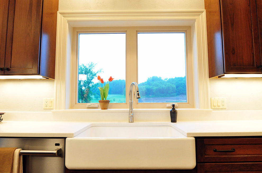 Casement Windows and Sliding Patio Doors Light Up Kitchen