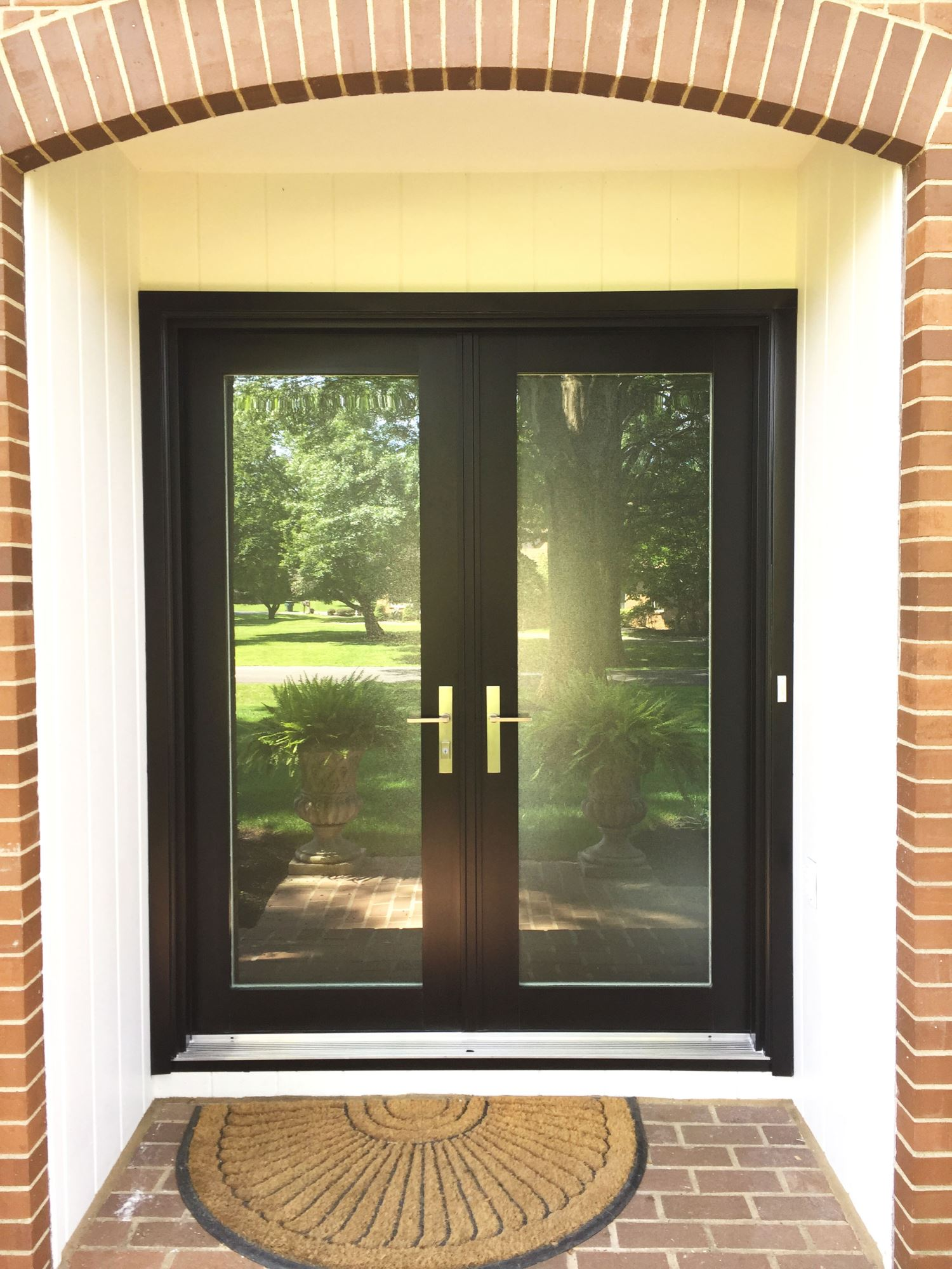 Modern black fiberglass door with full glass