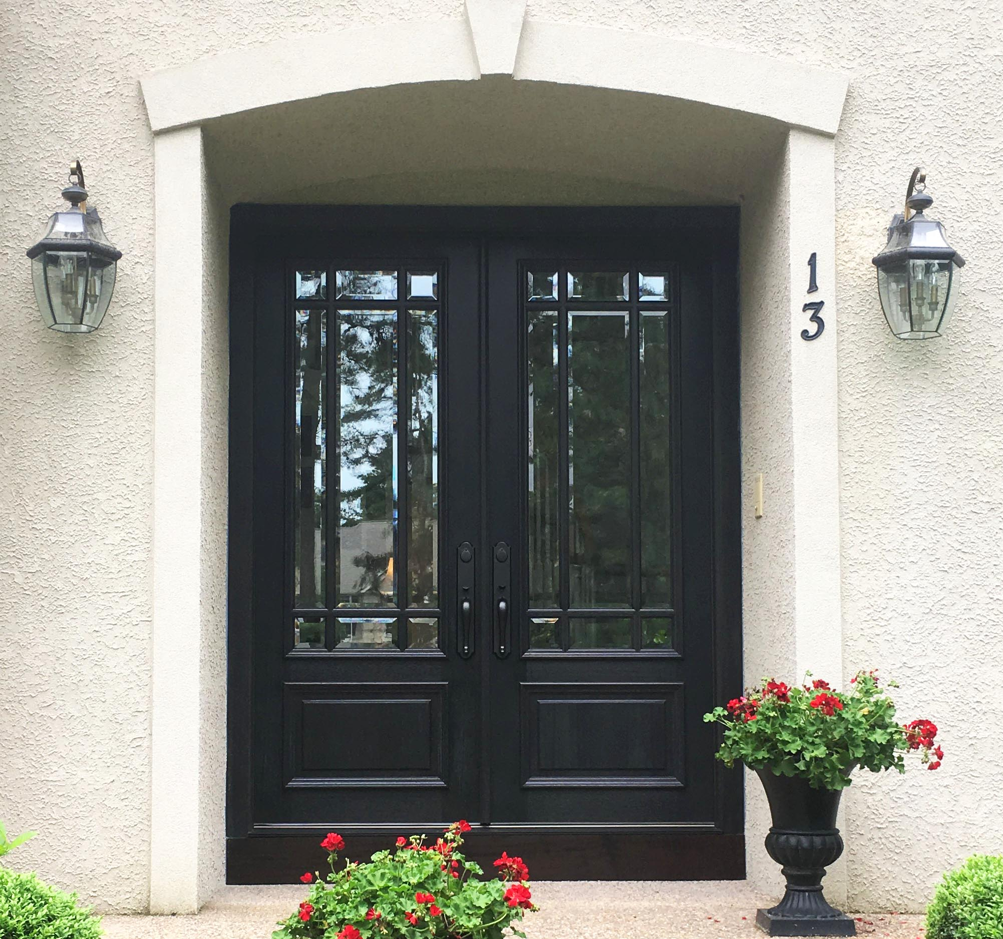 Black Stain Fiberglass Pella Double Door Entryway