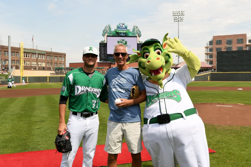 Dayton Dragons baseball player, mascot, and Pella Windows employee