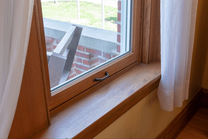 wood single-hung window is historic flanagan house