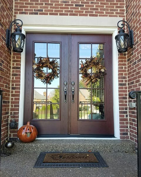 Double Doors On Brick Exterior
