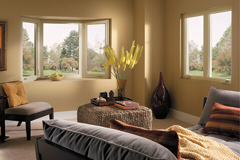 Casement windows in bay window