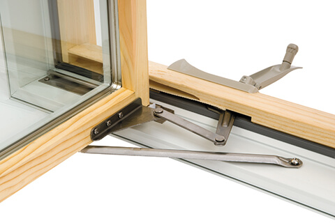 Casement window hinge operation