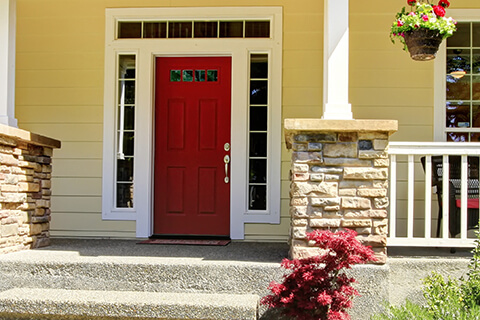 Red Is A Classic And Popular Door Color Choice, As It Works Well With A  Variety Of House Colors. A Red Front Door With A Gray House Makes An  Impactful ...