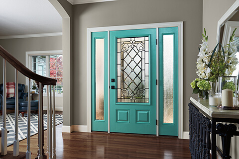 Teal Is A Beautiful Ocean Color And Ideal For An Inspiring Front Door.  Choosing A Teal Front Door Color With A Tan House Is A Striking Combination  That ...