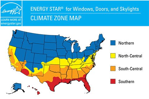 ENERGY STAR Climate Zone Map for Windows, Doors, and Skylights