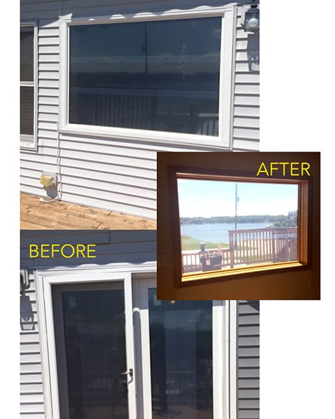 Before and after a picture window installation
