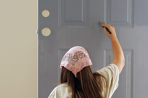 The Process Of Painting A Door
