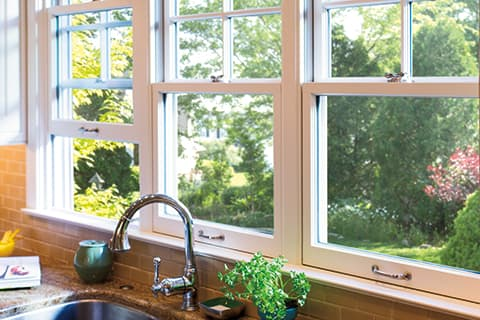 Double hung window above sink