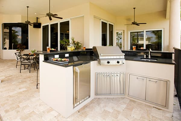 Outdoor kitchen with grill island
