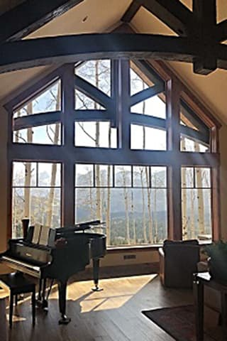 Colorado custom wood windows with a mountain view