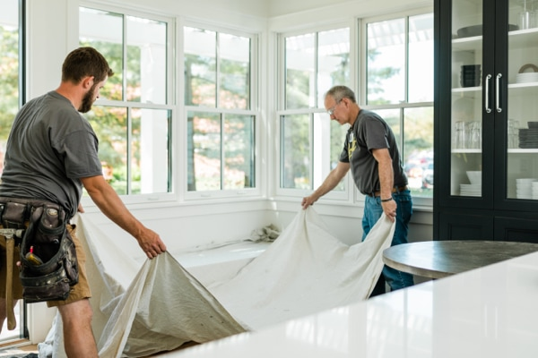 Pella window installers prep for the easy removal and disposal of old windows