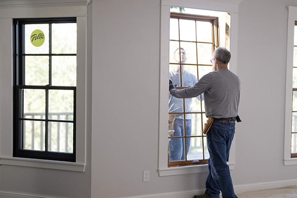 Professional installation of windows by Pella installation crew