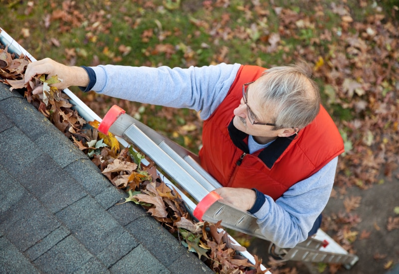 Older man on ladder cleaning leaves out of gutter