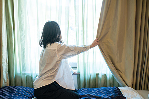 Reduce winter drafts with curtains