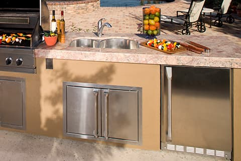 Outdoor kitchen pictures - outdoor built in refrigerator