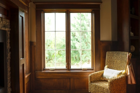 Energy-efficient wood Lifestyle Series windows in living room