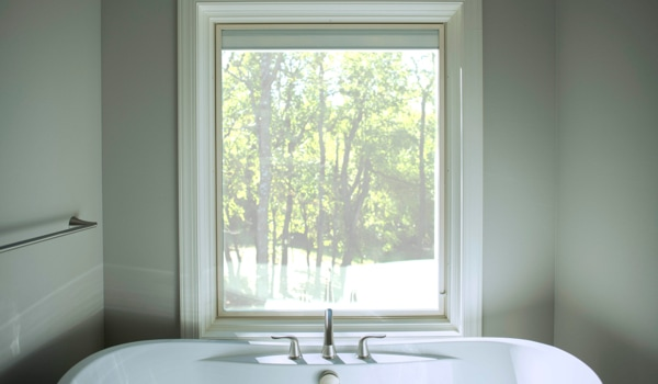 An insulated Lifestyle Series triple-pane window in a bathroom