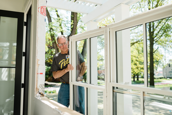 Pella crew installs white windows