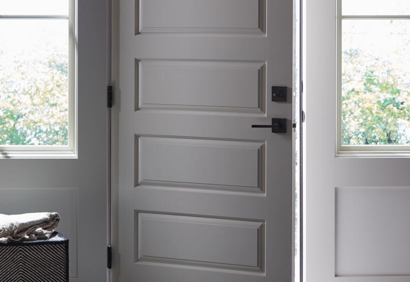 White entry door with multipoint lock system