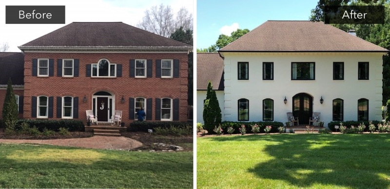 Before-and-after photos of window replacement project in Charlotte, North Carolina