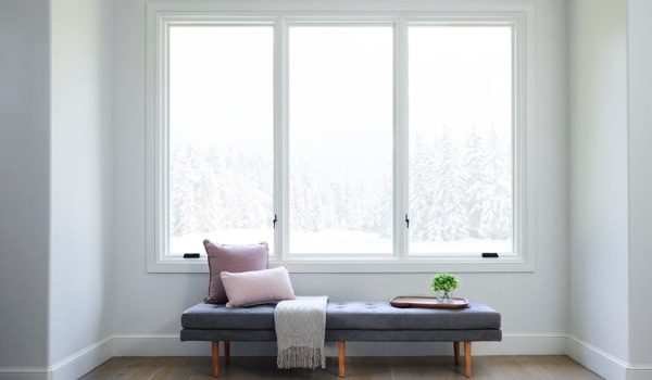 Combination of three energy-efficient windows by reading nook