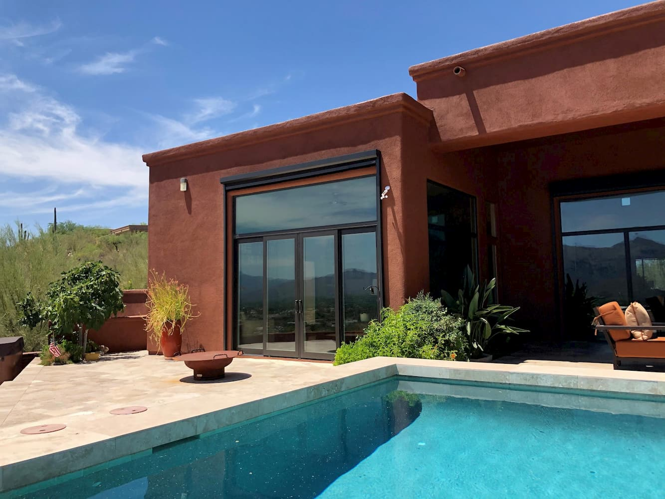 Exterior view of French patio doors in Tucson home living room