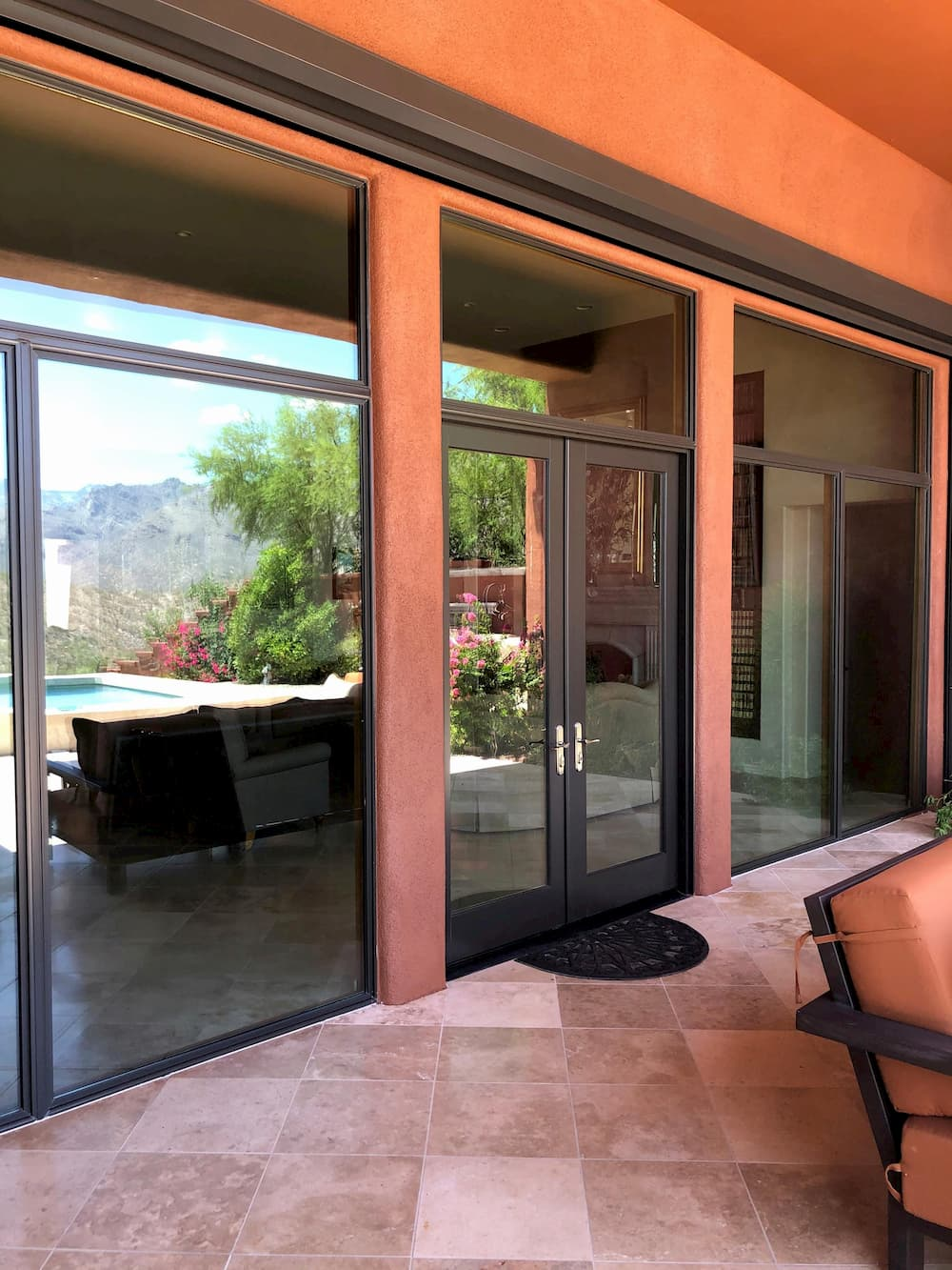 Exterior view of sliding glass doors in Tucson home family room