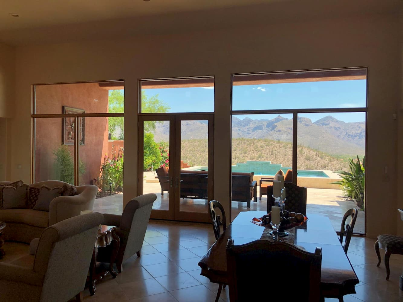 Interior view of French patio doors in Tucson home living room