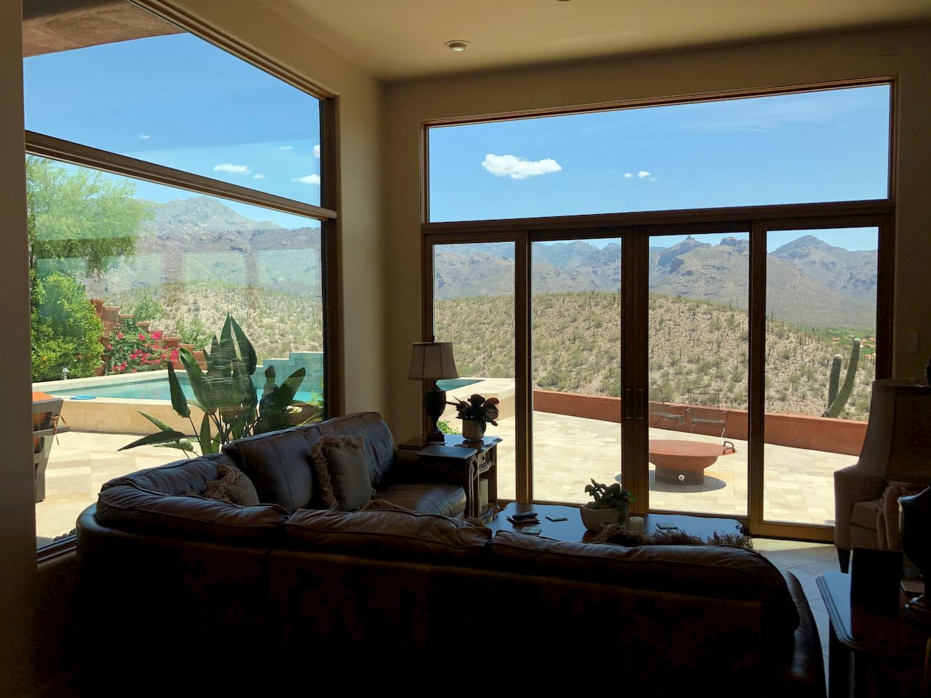 Interior view of sliding glass doors in Tucson home family room