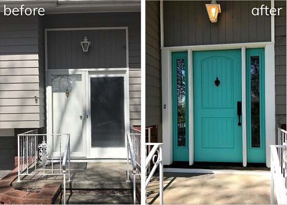 Fiberglass Entry Door Replacement Improves Aesthetic of 60's Home