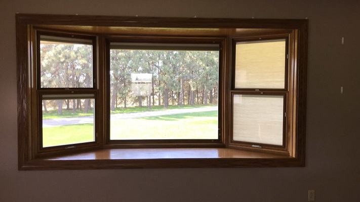interior view of new bay wood window opening