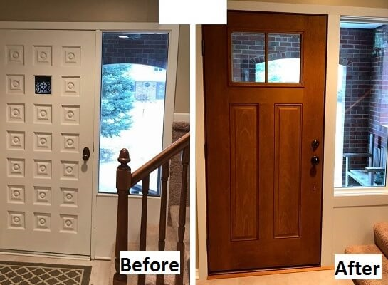 interior of wood entry door transformation