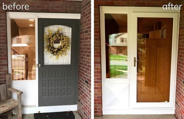 wood entry door makeover before and after