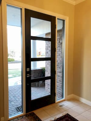 Glass Panels and Sidelights Modernize Lincoln Entry Door