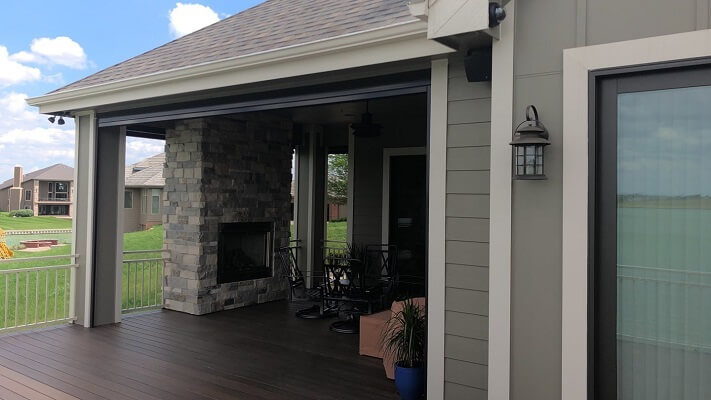 before image of omaha home with new multi slide patio door