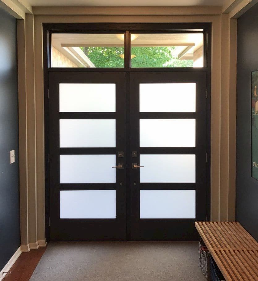 Interior view of contemporary double entry doors