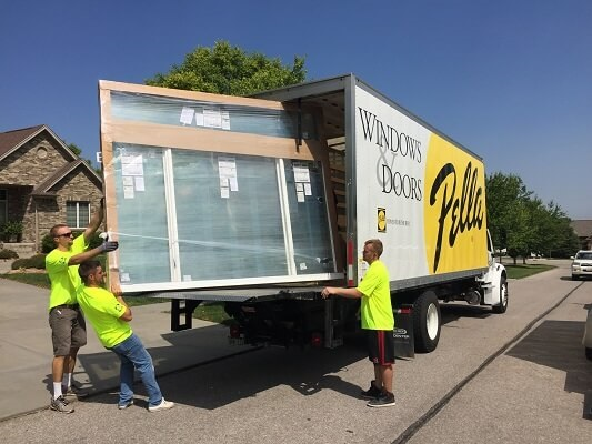 moving new window out of the Pella truck
