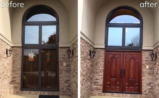 new wood entry door transformation