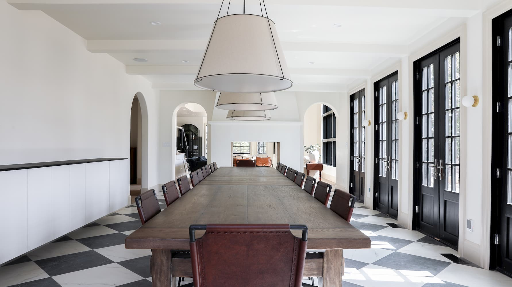 table length view of remodeled dining room with architect series windows