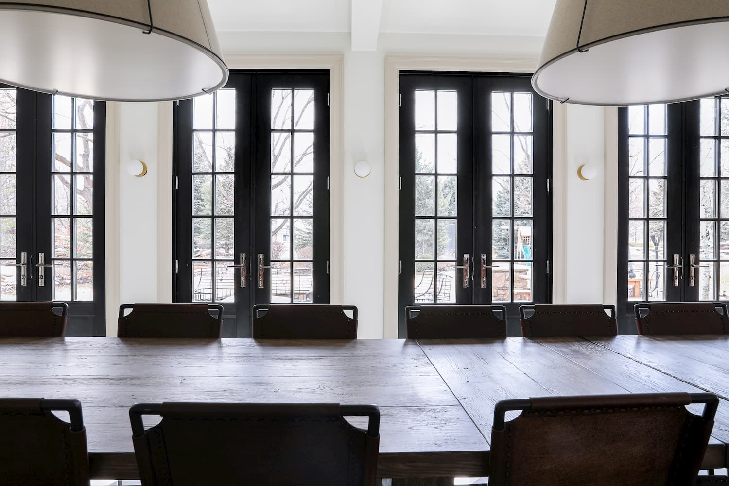 double doors with glass panels in remodeled dining room