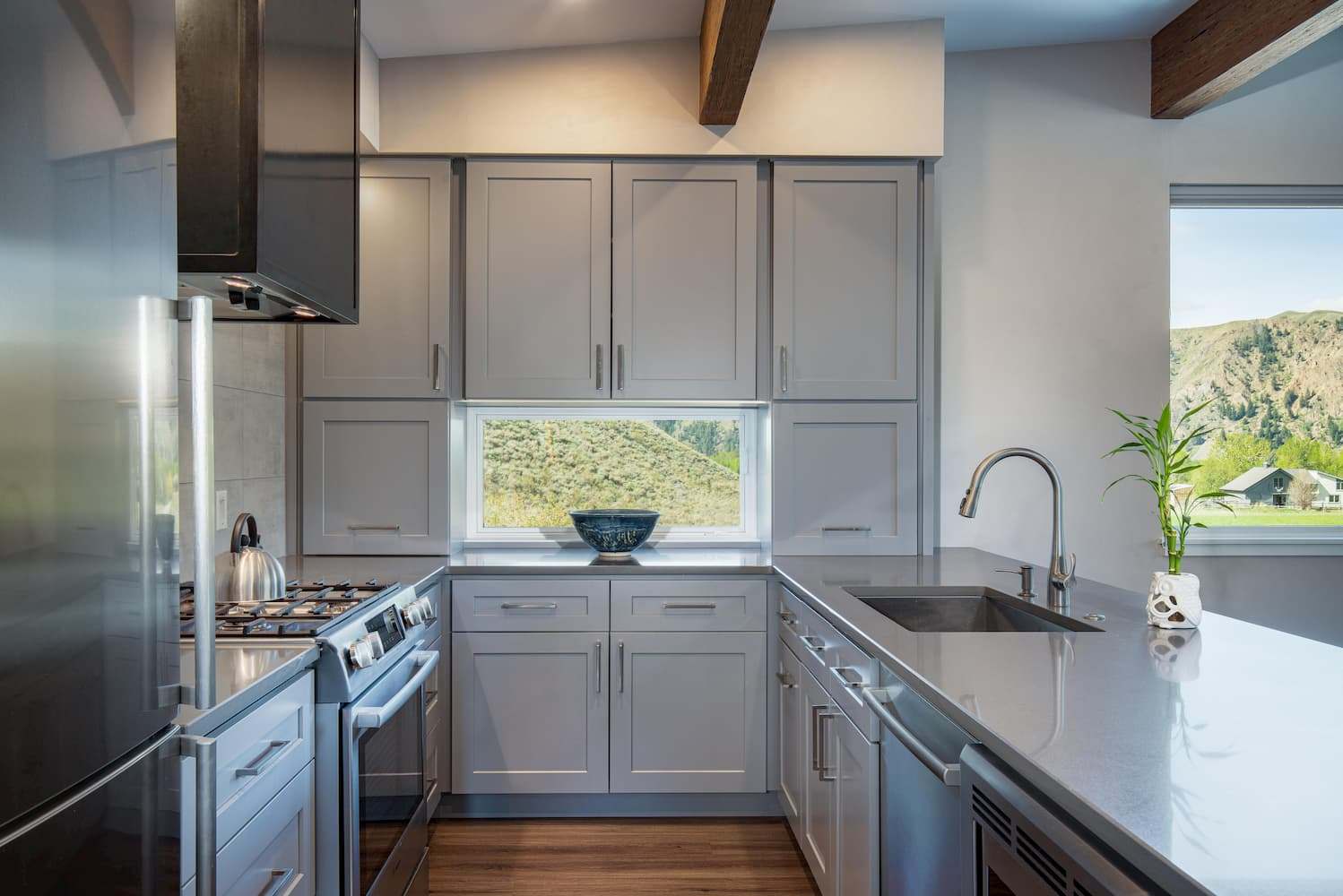 Modern kitchen of Hailey home complete with small Pella window
