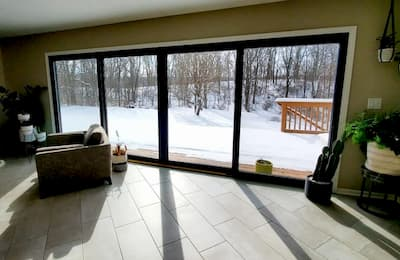 Black Sliding Patio Doors Open up Ada Living Room