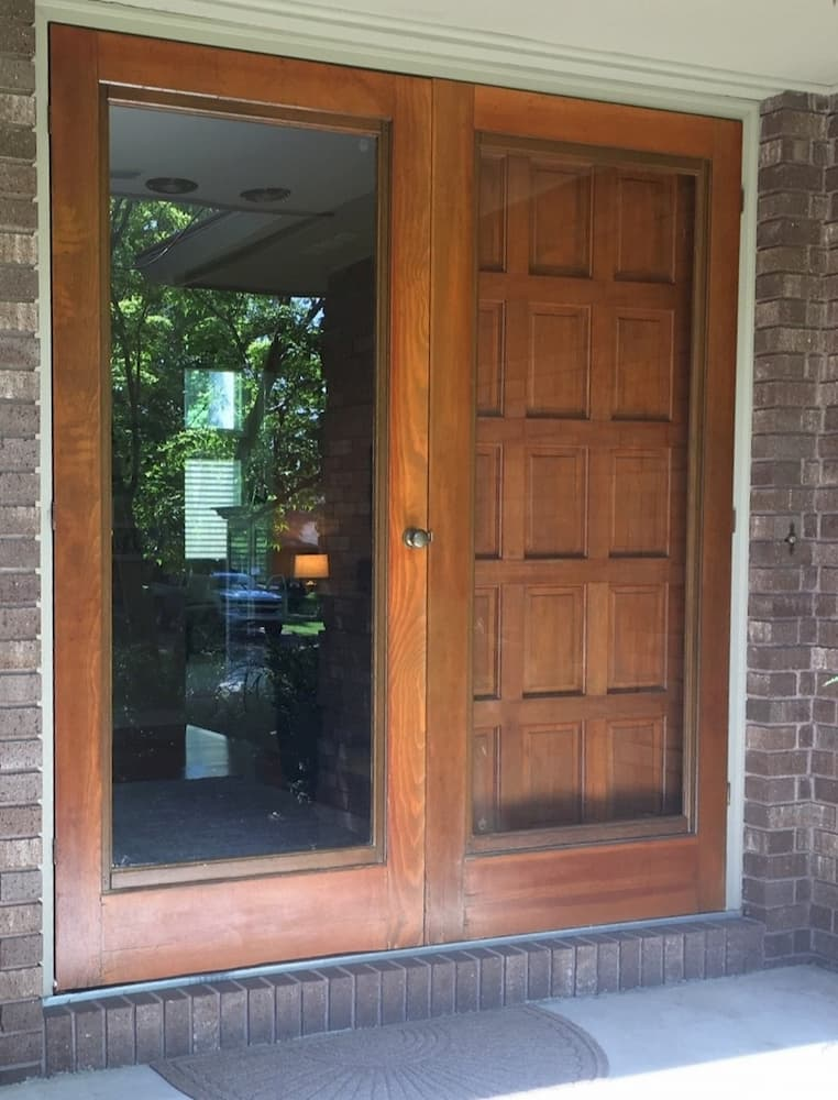 Old double wood entry door